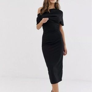 ASOS DESIGN Pleated Shoulder Pencil Dress BLK
